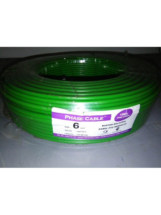 PHASE S/L 6MM X 100M CABLE (GREEN)